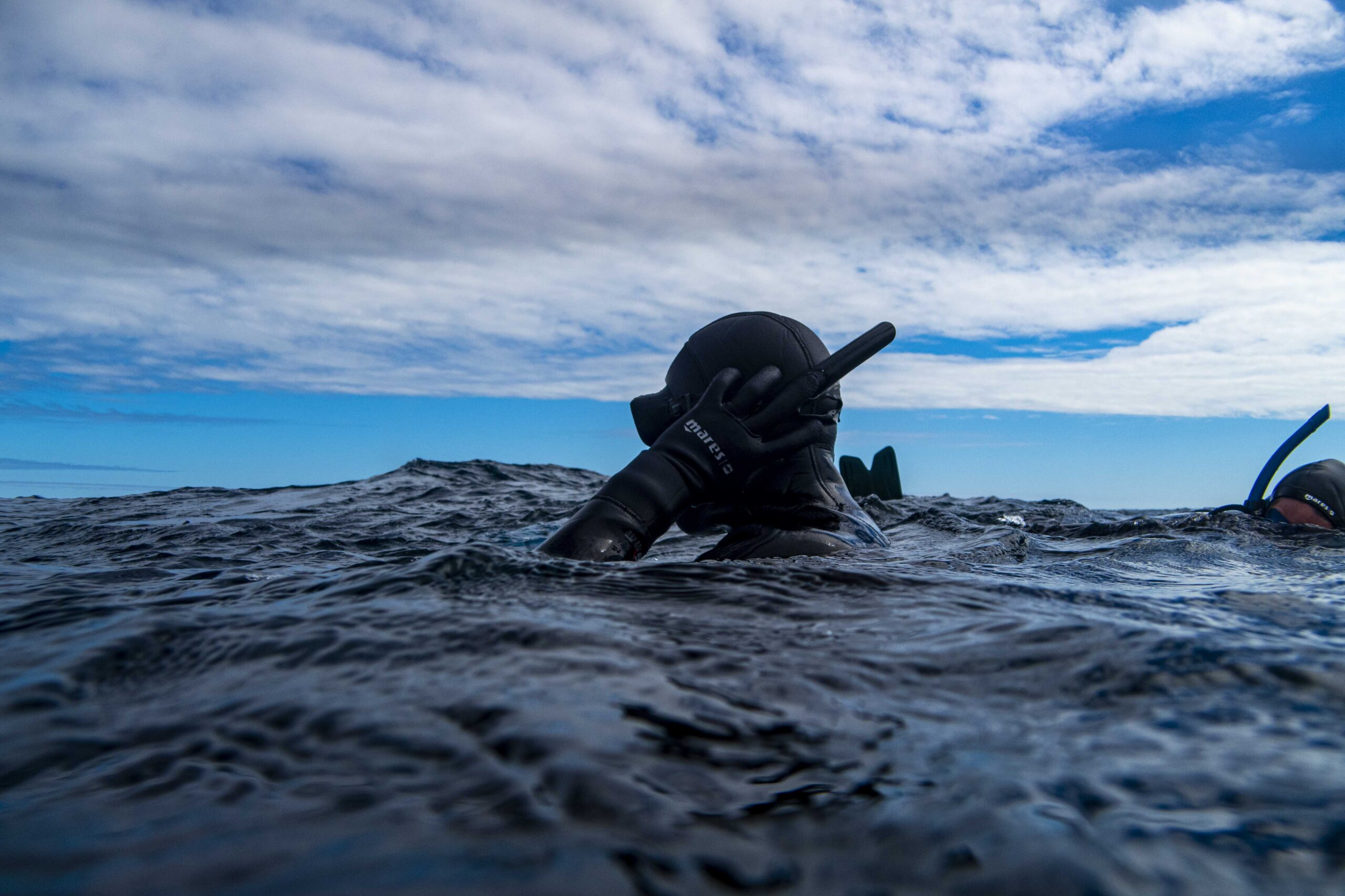Freediving in the sea